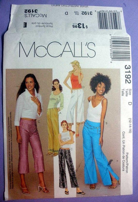 Low Rise Flared Pants, Capris, Women\'s Sewing Pattern, Misses Size ...