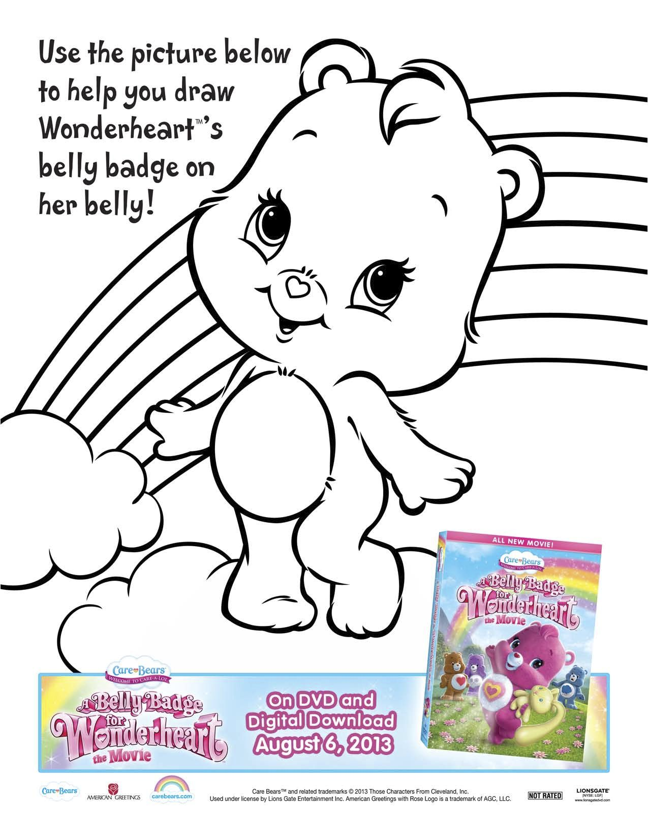 Care Bears A Belly Badge For Wonderheart Printable Coloring Sheet
