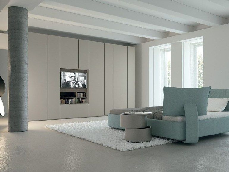 Contemporary Style Sectional Lacquered Wooden Wardrobe With Built In TV GRAFIK