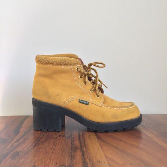 8cd0d34e90847 Vintage ESPRIT Ankle Boots • 1990s Women Shoes • Size 7 Modern Block ...