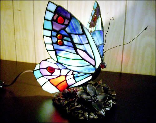 Stained Glass Butterfly Lamp | Tiffany Style Red U0026 Orange Butterfly Lamp