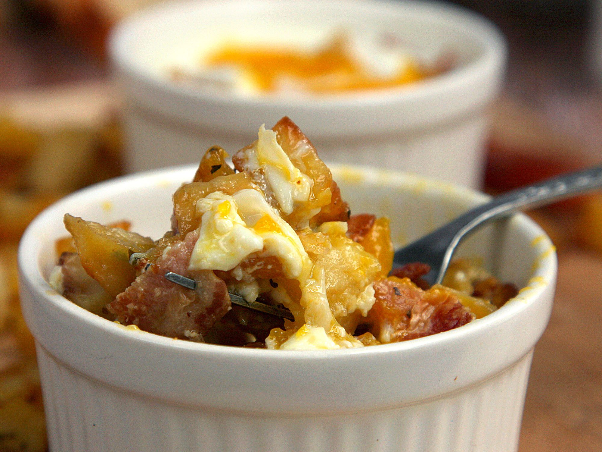 Bacon and Roasted Potato Baked Eggs