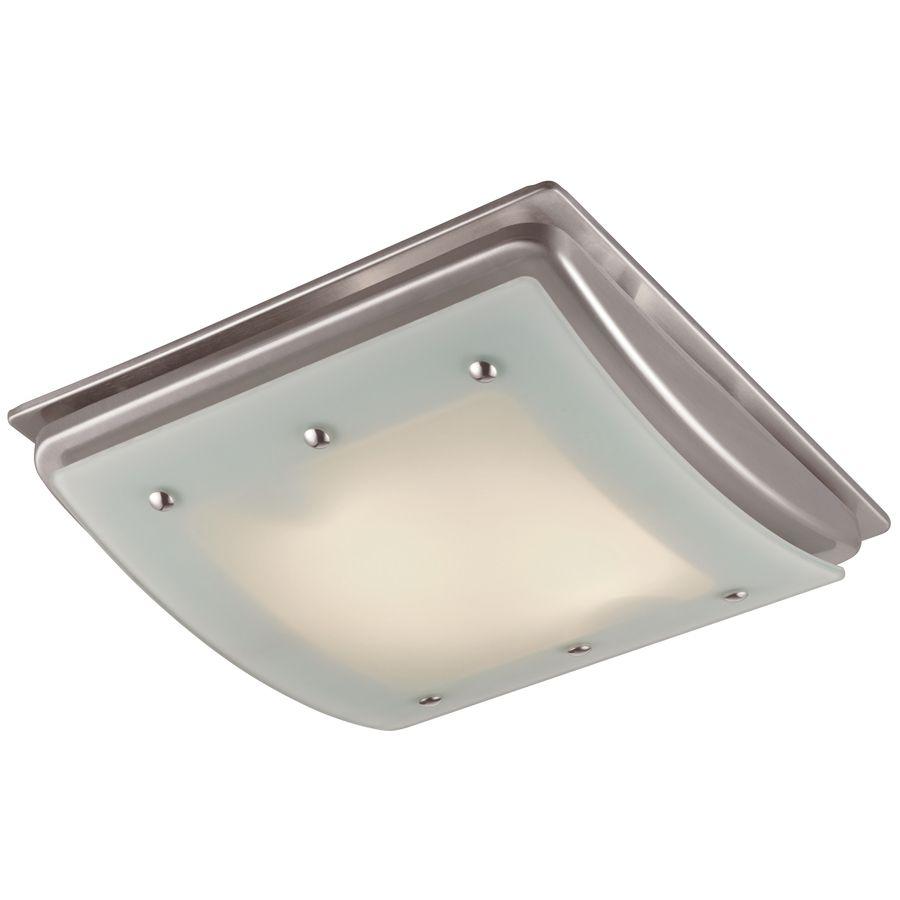 Shop utilitech 1 5 sone 100 cfm brushed nickel bathroom fan incandescent with light at lowes com