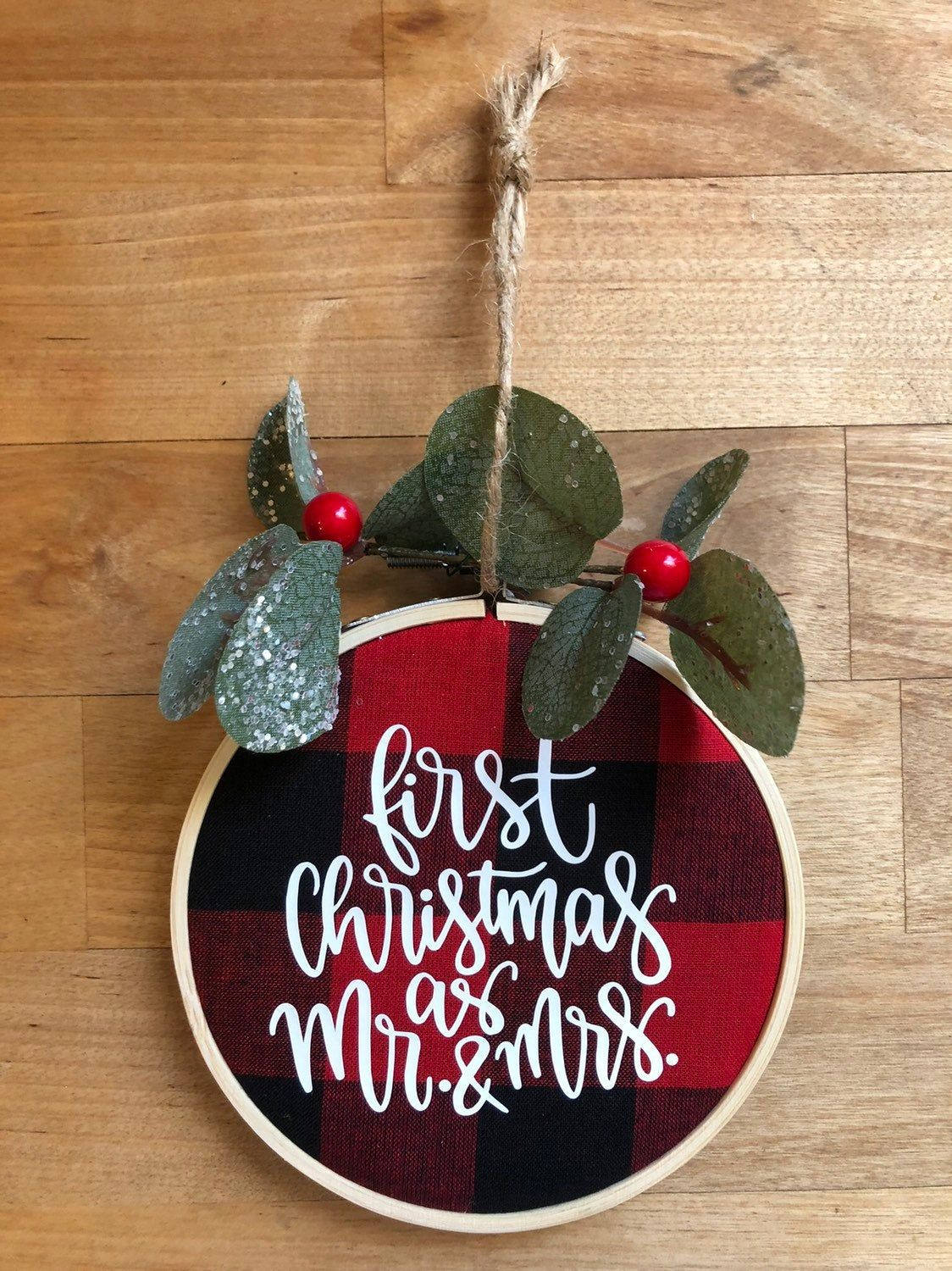 Personalized Embroidery Hoop Christmas Ornament First