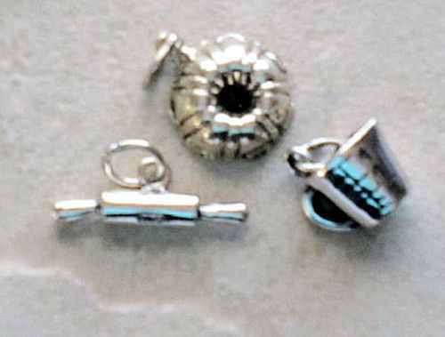 Charms, Cooking: Baking Bundt,Rolling Pin,Cup Sterling Silver Charms (3) #Traditional
