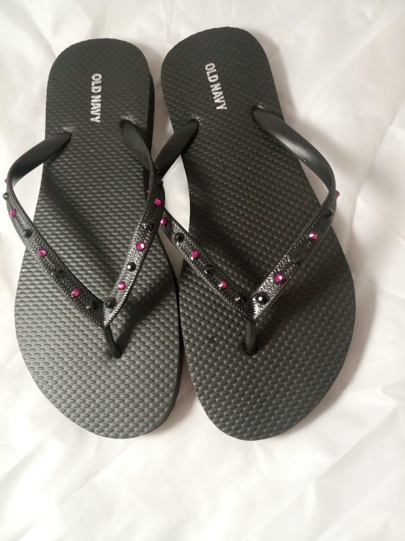 da26981a0bfe0f Black Flip Flops with Fuchsia Pink   Black Genuine Crystal Rhinestones  Bling  Sandals  Bridal Shower