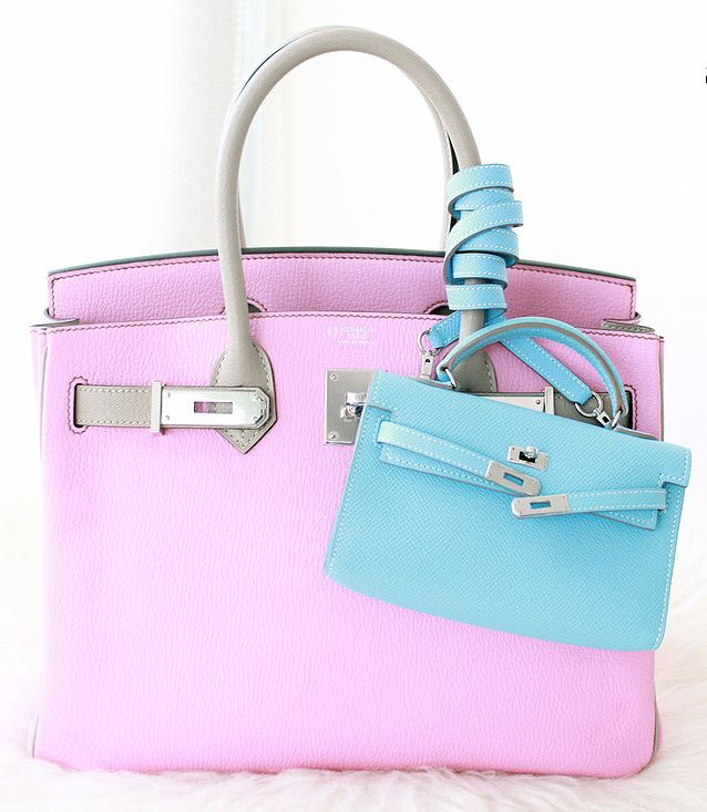 Hermes pink   grey Birkin bag and mini light blue Kelly.  1c51df4e92868