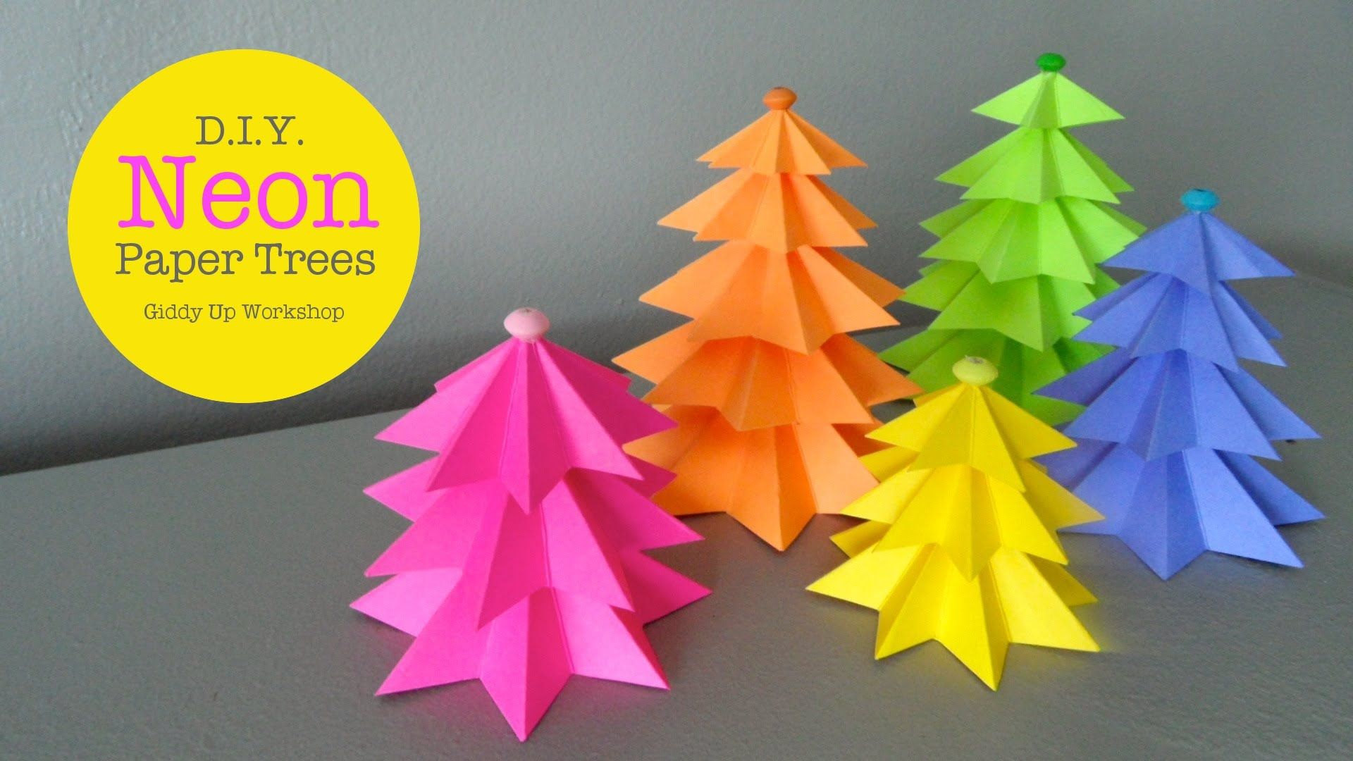 How To Make Easy Small Neon Paper Trees Origami Christmas Tree Paper Tree Christmas Origami