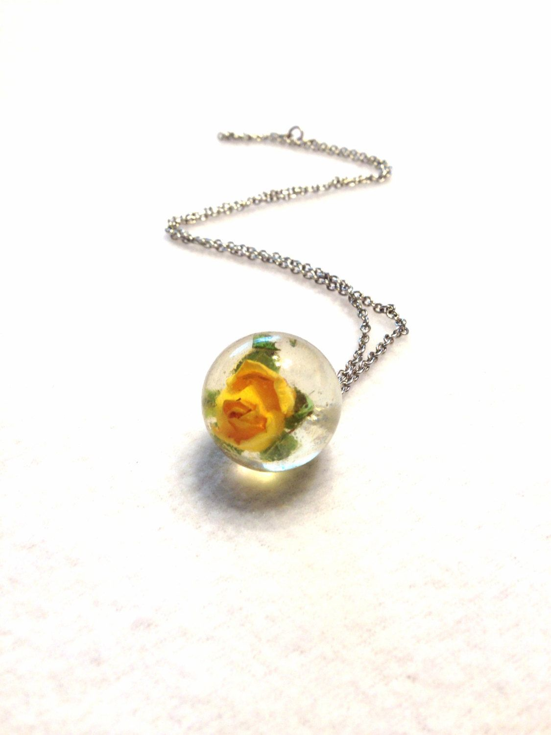 Orb Necklace Rose Necklace Yellow Rose Resin Necklace