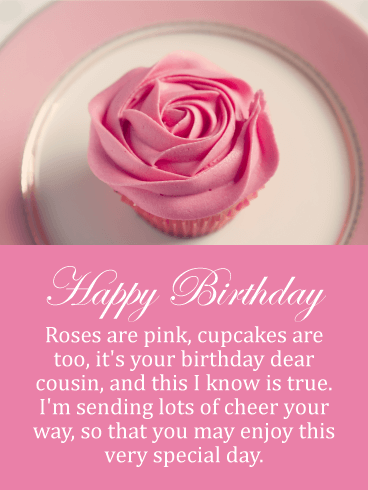 Rose Cupcake Happy Birthday Card For Cousin Birthday Greeting Cards By Davia Happy Birthday Cousin Happy Birthday Cousin Messages Birthday Wishes For Myself