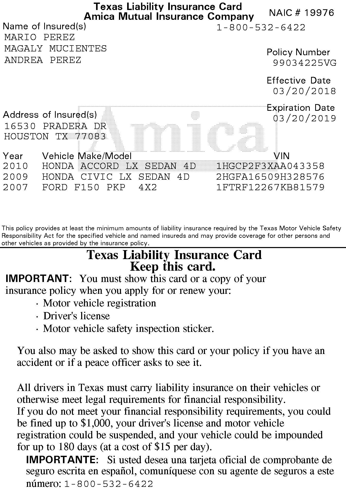 Amica Insurance Insurance Identification Card