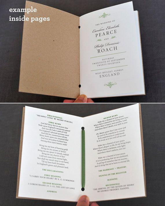 Photo of Vintage 1940s 1950s Wedding Program / Order of Service Pocket-Sized Booklet Rustic Brown Kraft Cover / Elegant Vintage Wedding / ONE SAMPLE