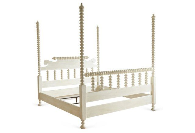 coco spindle 4 poster bed white bed