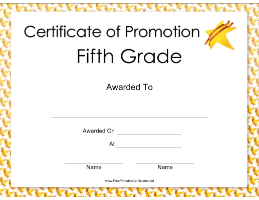This fifth grade promotion certificate features a bright for 6th grade graduation certificate template