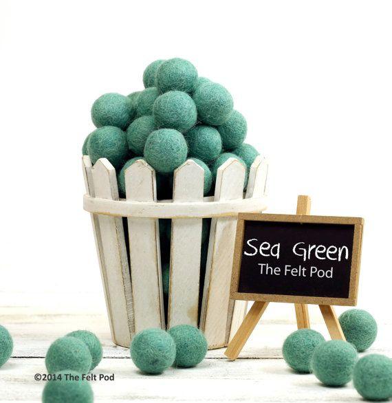 Felt Balls -  2 cm - 25 count - SEA GREEN