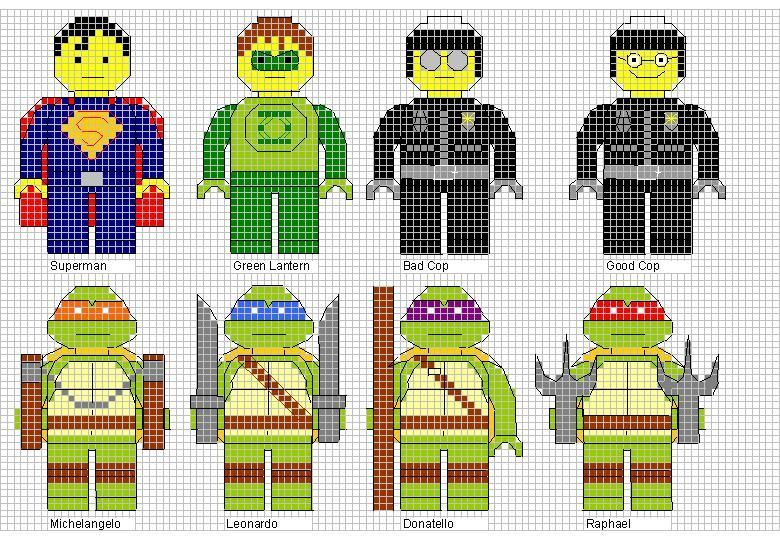 Superman, Aquaman, Police officers and Ninja Turtle Lego