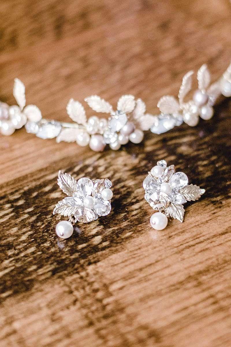 E7021 leaf pearl drop earrings in 2020 bridal