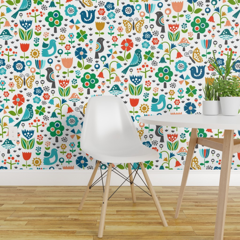 Colorful Fabrics Digitally Printed By Spoonflower Malmo Meadows Christmas Wallpaper Wall Coverings Wallpaper