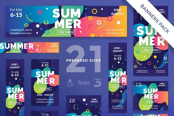 banners pack summer camp creativework247 templates templates