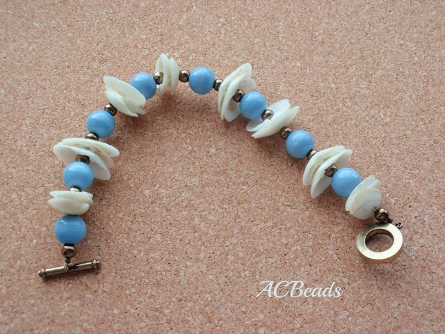 Surf and Sand Light Blue Bracelet - Handmade by ACBEADS
