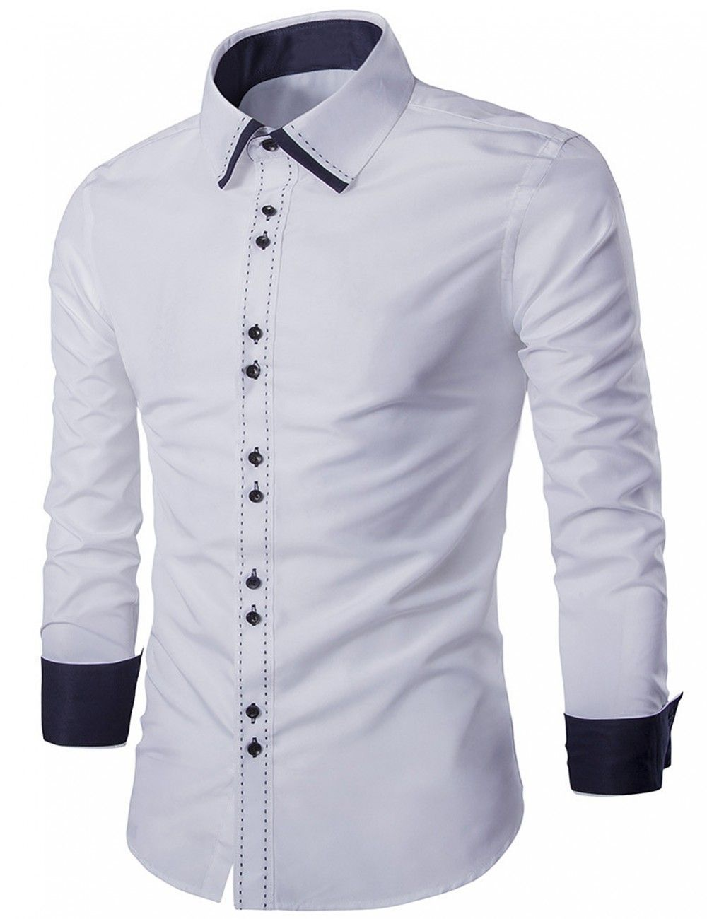 02675cfdd8 Yesfashion Men's Collar Bump Color Hand Stitching Shirt White M - Tee &  Tank Top - Men