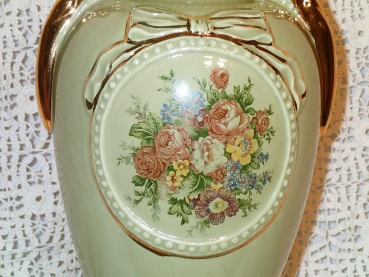 Vintage Victorian style table lamp,soft green ceramic Grecian Urn shaped base with transferware pastel flower bouquet, gilt gold handles and trim.