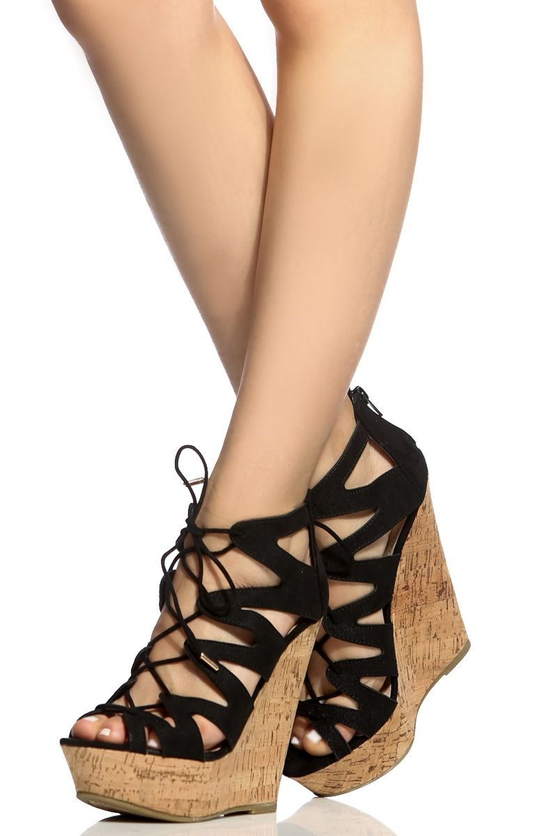 Black Faux Suede Cut Out Lace Up Cork Wedges @ Cicihot Wedges Shoes Store: Wedge Shoes,Wedge Boots,Wedge Heels,Wedge Sandals,Dress Shoes,Summer  Shoes,Spring ...