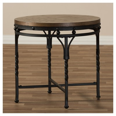 Austin Vintage Industrial Round End Table Antique Bronze Baxton Studio Traditional Furniture Furniture Table