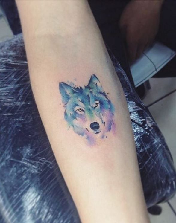 0bb24e610 Small Watercolor Wolf Tattoo | Animal Tattoos | Watercolor wolf ...