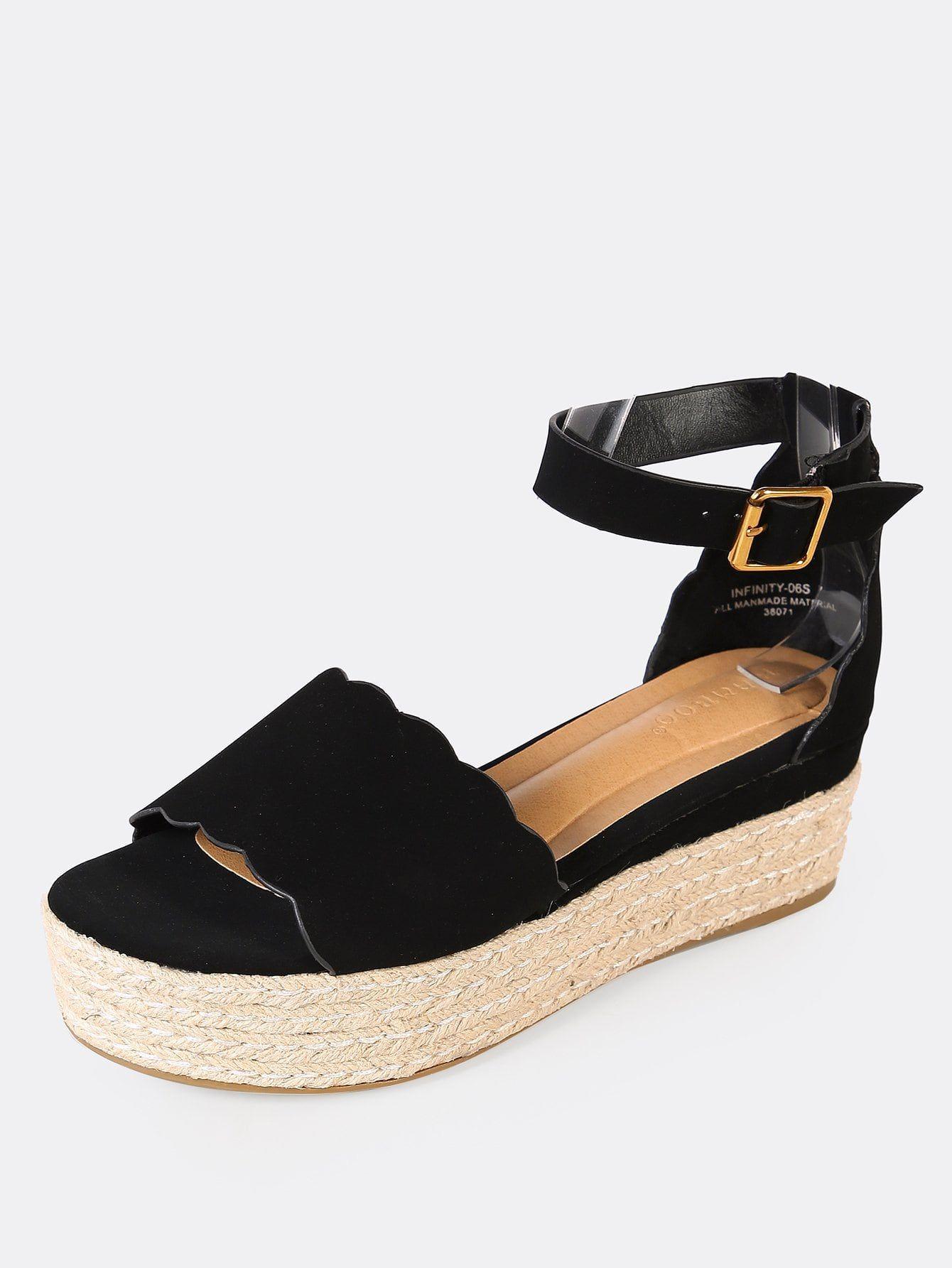 8370c967a7e Casual Peep Toe Ankle strap Black Mid Heel Espadrille Scallop Open Toe  Flatform Espadrille Wedge