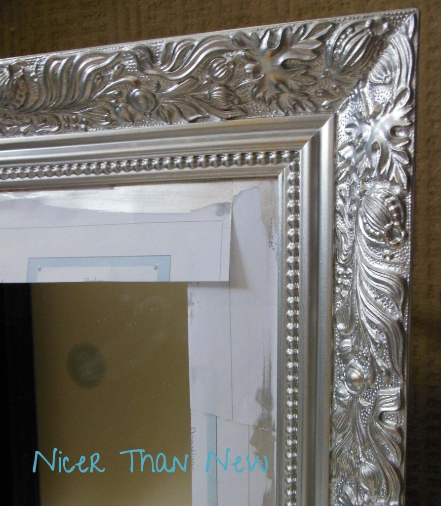 Bathroom Mirror Makeover Pinterest rust paint in aluminum (metallic) paint::one coat was all that was
