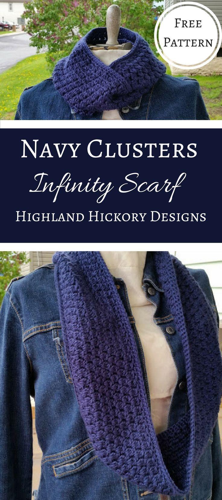 Navy Clusters Infinity Scarf Free Crochet Pattern | Pinterest ...