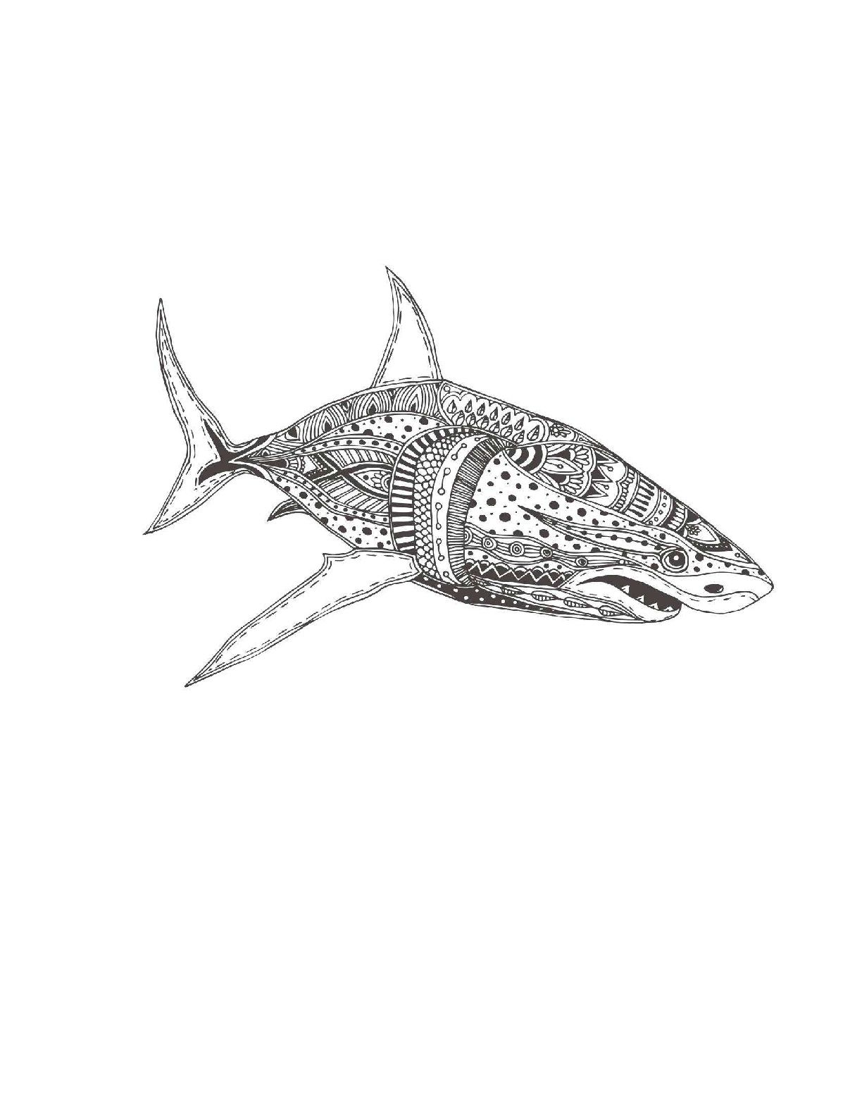 Great white shark coloring page for adults | Shark Coloring Pages ...