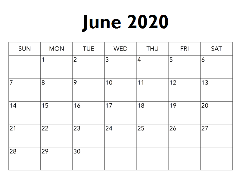 Free Printable June 2020 Calendar Monthly Planner Printable