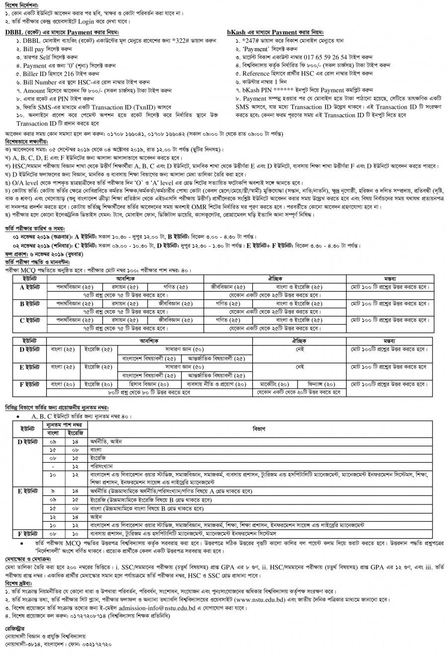 Nstu Admission Result 2019 Admit Card Seat Plan Result