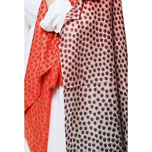 Stole fashion - Because polka dots never do out of style. Trendy cashmere blend designer stole in orange and grey by Insiyah creations at dvibgyor.com #stoles #stolefashion #cashmere #polkadots #orange #grey #designer #dvibgyor
