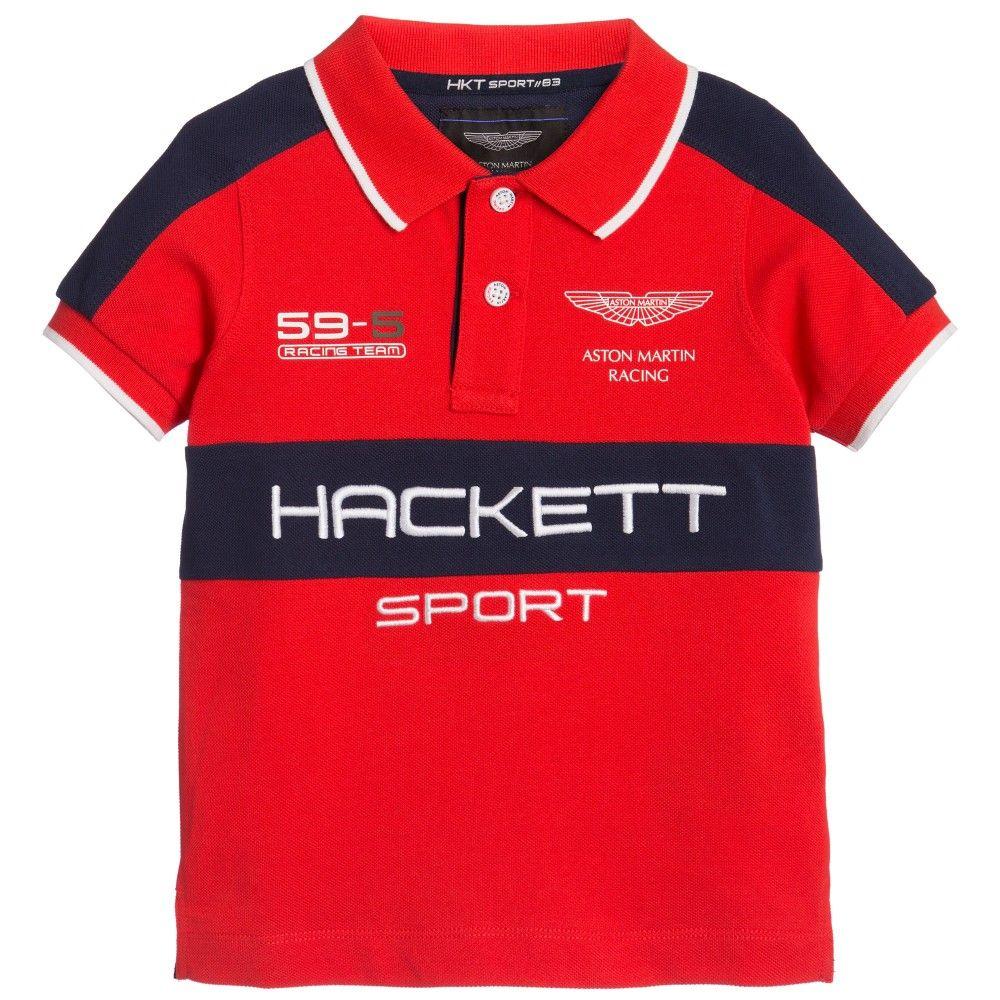 hackett aston martin racing - boys red logo polo shirt