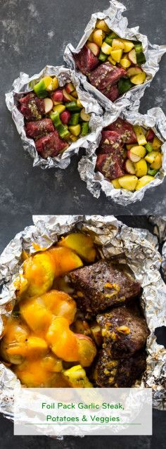 Photo of Foil Pack Garlic Steak, Potatoes & Veggies