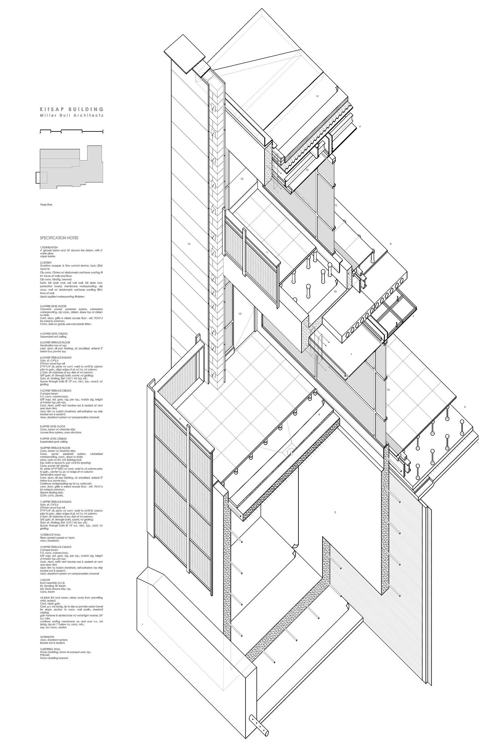 Axonometric Drawing Kitsap Building Designed By A