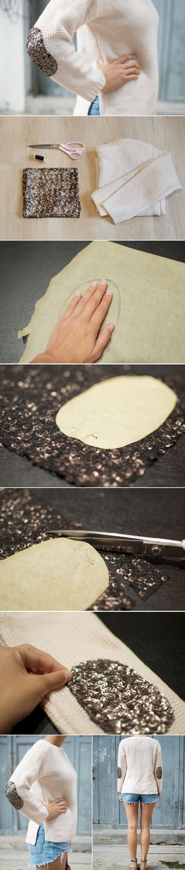 DIY Sequin elbow Patch Sweater