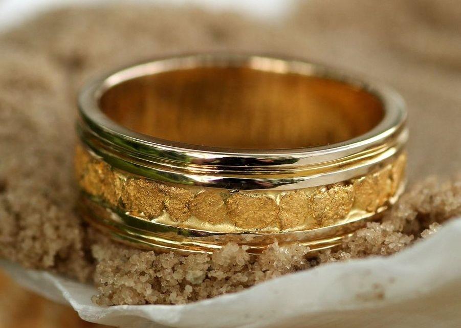 Custom Alaskan Gold Nugget Wedding Band Style Grw326 Rush Fine Jewelry
