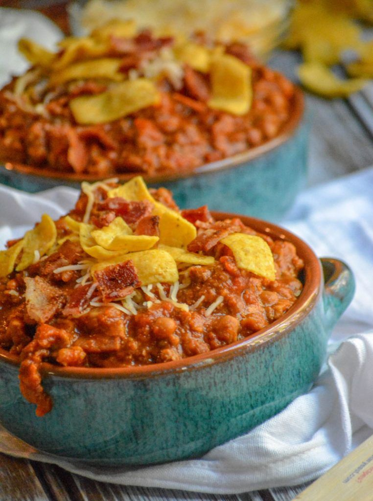 Ground Beef Bacon Baked Bean Chili Recipe Baked Beans With Bacon Baked Beans Beef Bacon