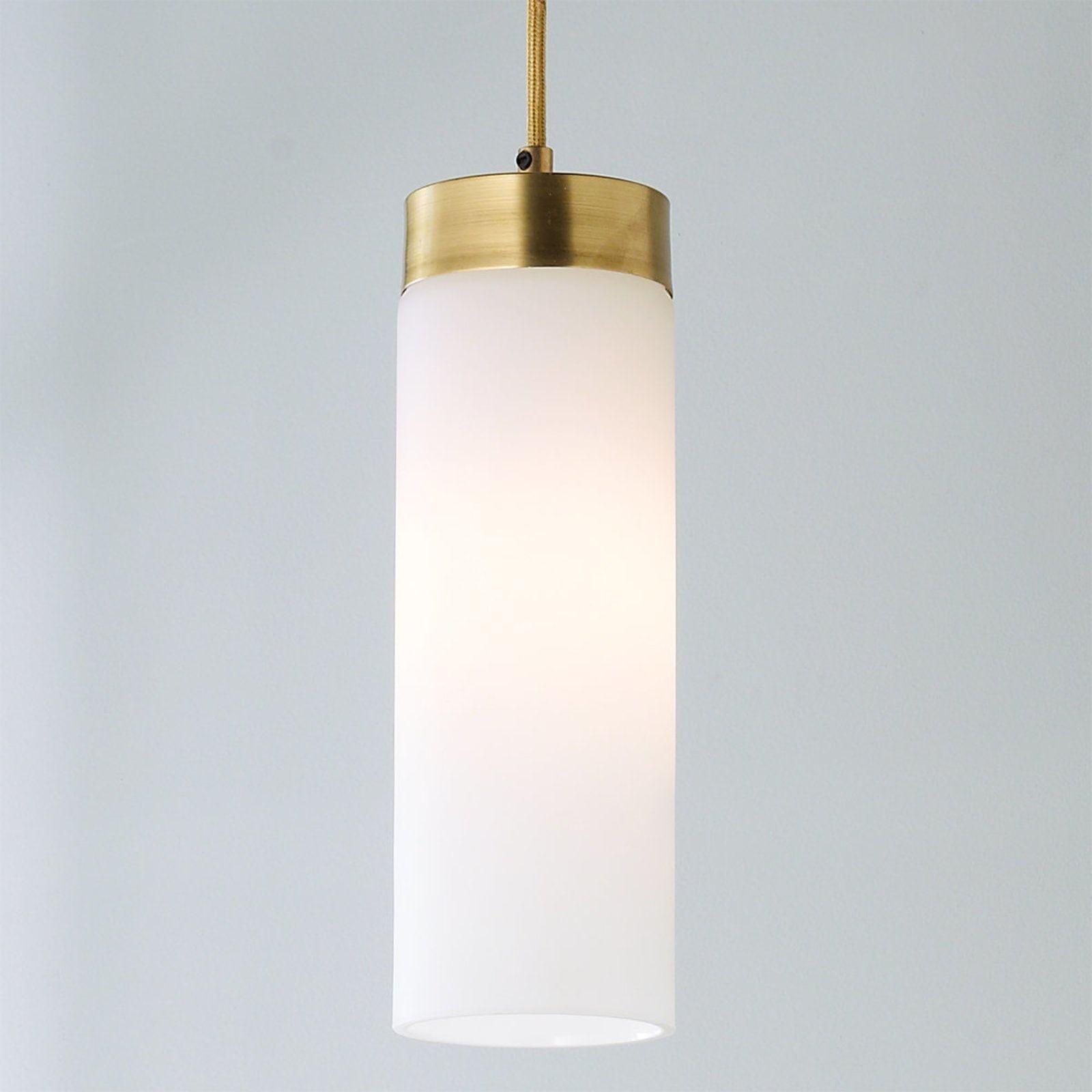 Brass Band Cylinder Pendant Glass Pendant Light Gold Pendant