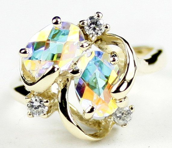 R016 mercury mist topaz 10ky gold ring stone type for Jh jewelry guarantee 2 years