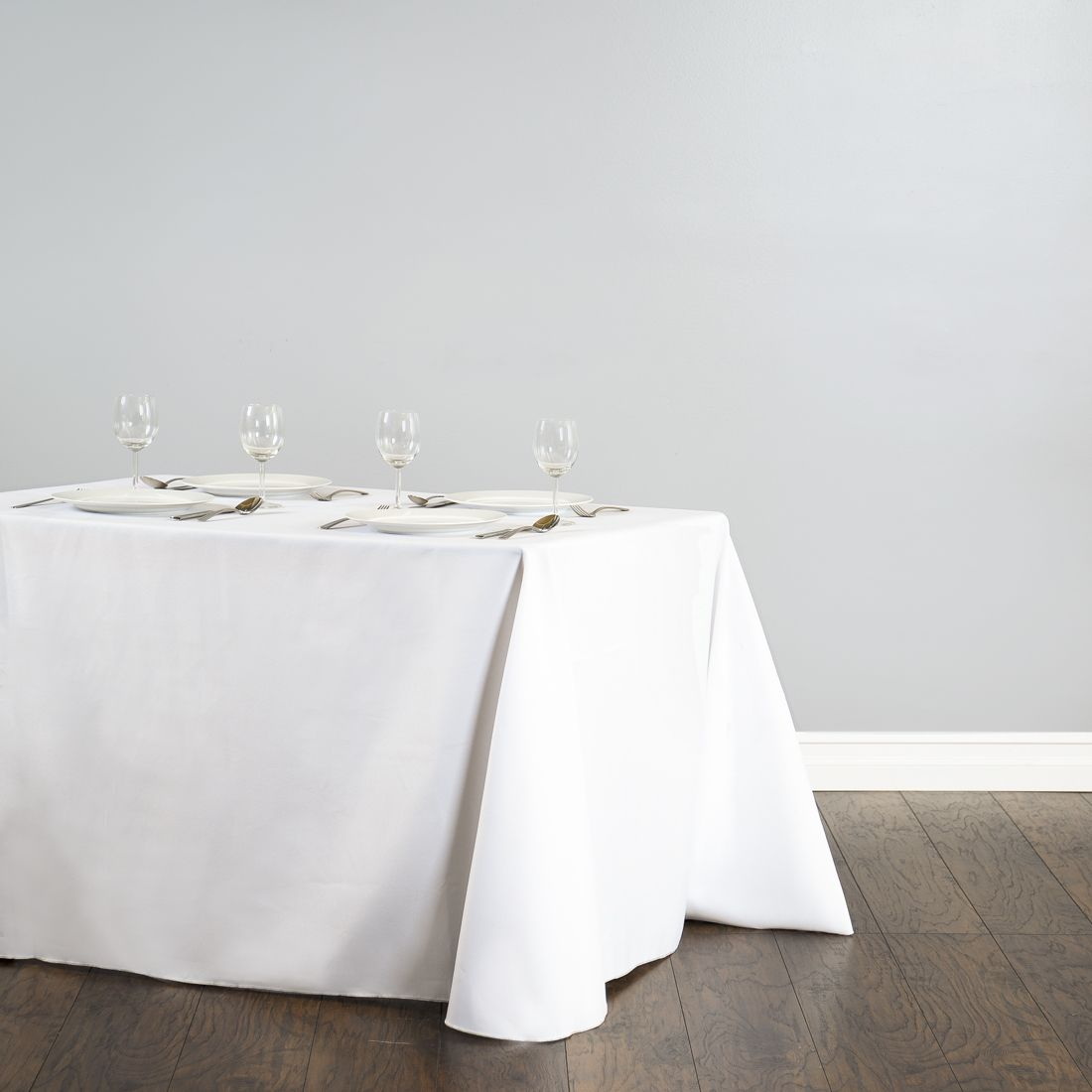 Rectangular Polyester Tablecloth White