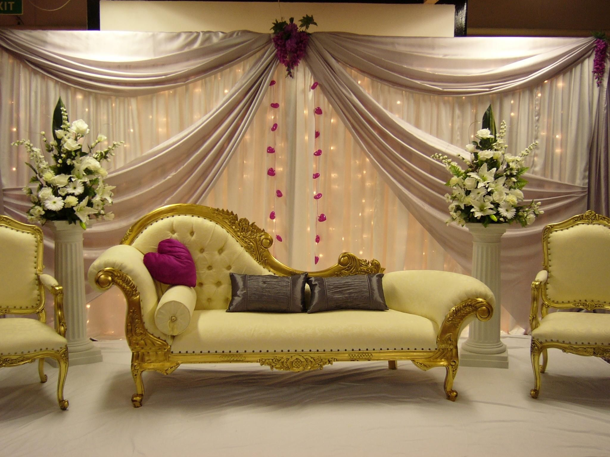 Mehndi Stage Hire : Asian wedding chair covers and top table decor hire desi tent