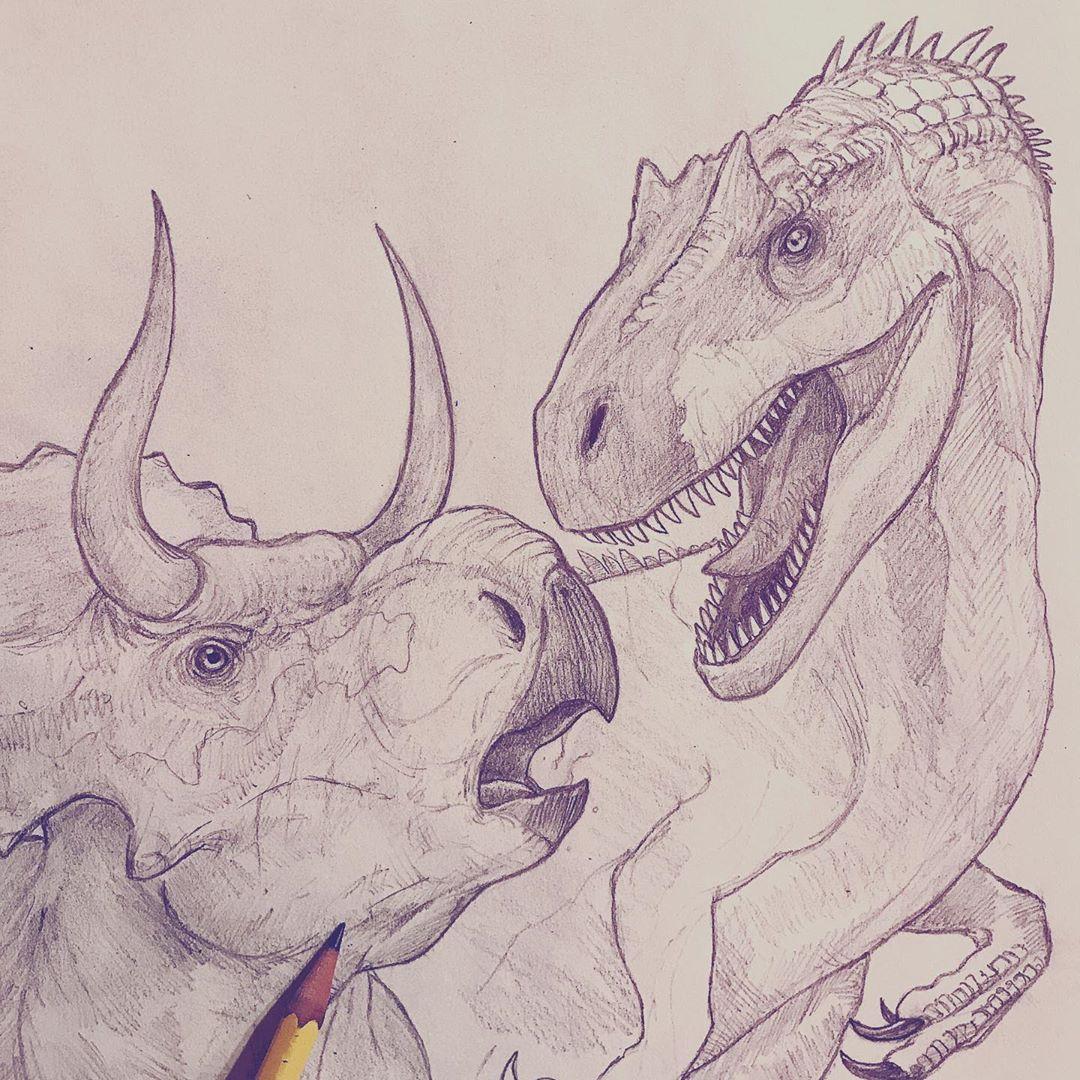 """Nicolás Hernández-Sotelo on Instagram: """"Coming soon... #battleatbigrock #paleoart #jurassic #trex #art #drawing #draw #fanart #ink #sketch #sketchbook #artist #dibujo #dinosaur…"""""""