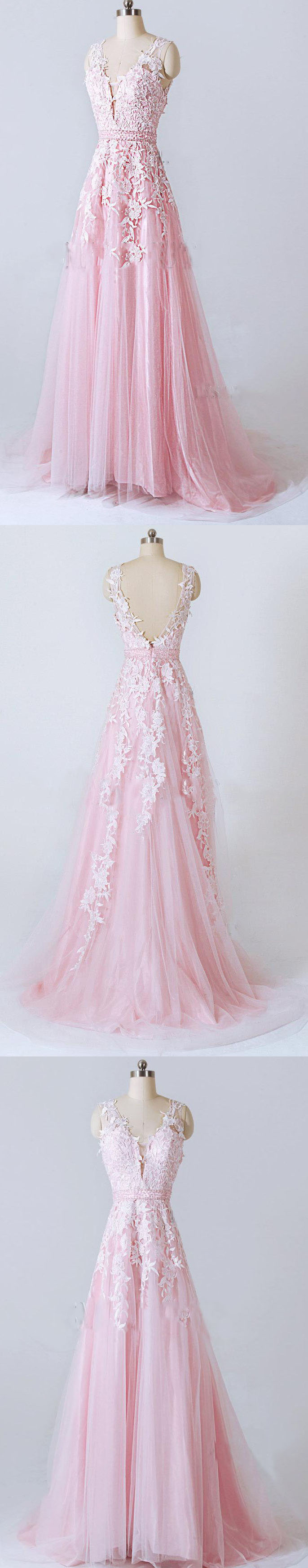 Lace dress pink  Pin by June Bridals on Prom Dresses  Pinterest  Lace dress Prom