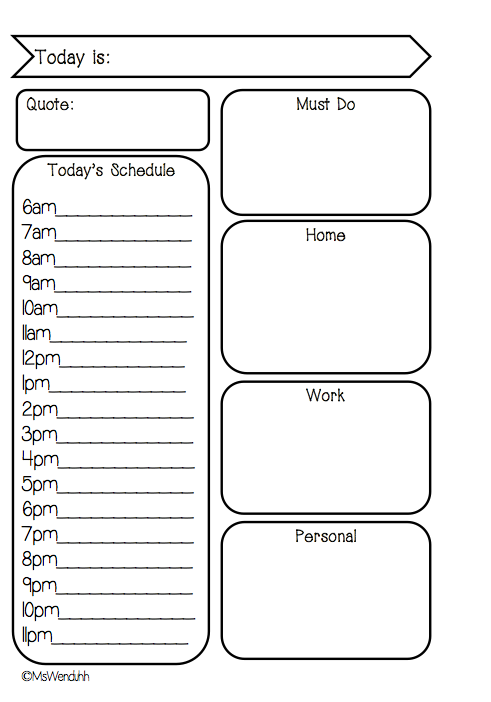 New Day On Two Pages Daily Schedule Free Printable for