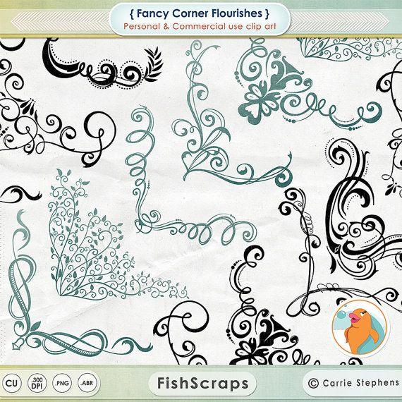 Digital Stamp Design Flourish Rose Border Corner Clip Art: Elegant Swirl Corner Flourishes Ornate Frame Clip от